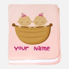 Personalized Twin Girls baby blanket