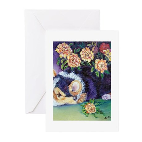 corgipupflowers1_5x7 Greeting Cards