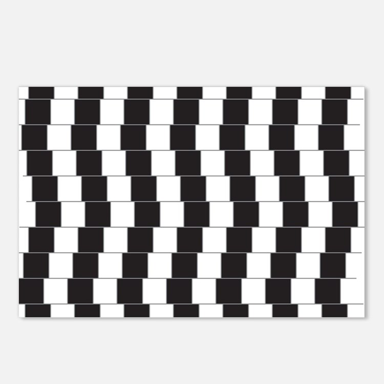Optical illusion tilted lines Postcards (Package o