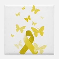 Yellow Awareness Ribbon Tile Coaster
