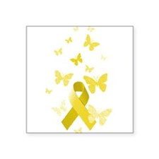 "Yellow Awareness Ribbon Square Sticker 3"" x 3"""