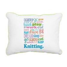 Knitting Rectangular Canvas Pillow