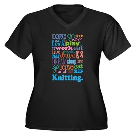 Knitting Women's Plus Size V-Neck Dark T-Shirt