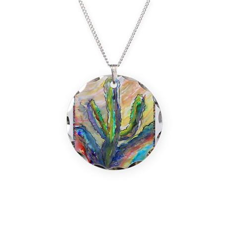 Cactus, southwest art! Necklace Circle Charm