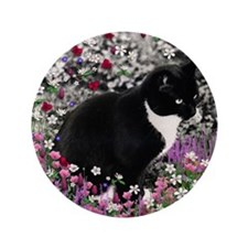 """Freckles Tux Cat Flowers II 3.5"""" Button (100 pack)"""