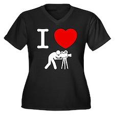 Cameraman Women's Plus Size V-Neck Dark T-Shirt