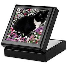 Freckles Tux Cat Flowers II Keepsake Box