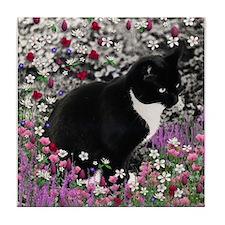 Freckles Tux Cat Flowers II Tile Coaster