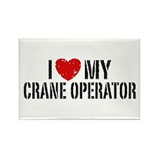 I Love My Crane Operator Rectangle Magnet