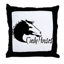 Curly Horses XL Throw Pillow