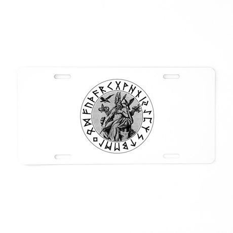 Odin Rune Shield Blk on Wht.png Aluminum License P
