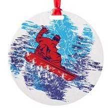 Colorful Snowboarder Catching The Snow Drift Ornament
