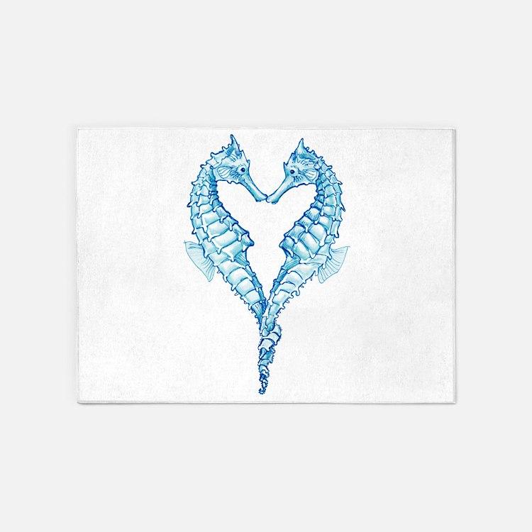 2 blue seahorses together 5'x7'Area Rug