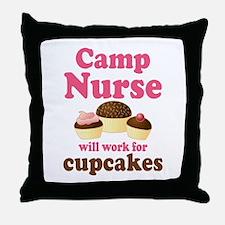 Camp Nurse cupcake Throw Pillow