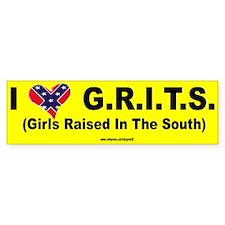 """""""I Love Grits"""" Bumper Bumper Sticker"""