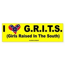 """""""I Love Grits"""" Bumper Car Sticker"""