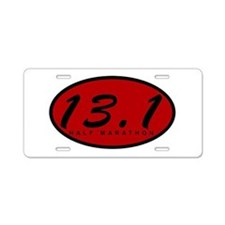 Red Oval Half Marathon Aluminum License Plate