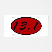 Red Oval Half Marathon Aluminum License Plate