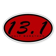Red Oval Half Marathon Decal
