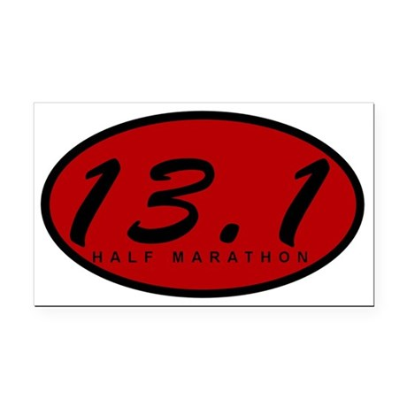 Red Oval Half Marathon Rectangle Car Magnet