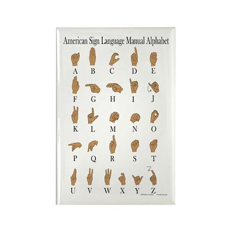 Sign Language Alphabet Rectangle Magnet