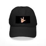 Sign Language I Love You Hand Black Cap