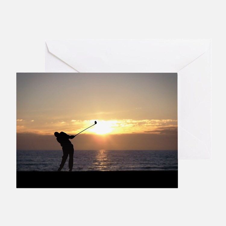 Playing Golf At Sunset Greeting Card