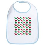 Greyhound Christmas or Holiday Silhouettes Bib