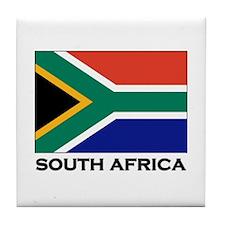 South Africa Flag Gear Tile Coaster