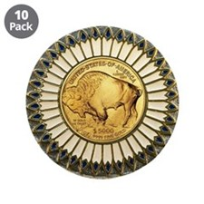 """Buffalo gold oval 1 3.5"""" Button (10 pack)"""