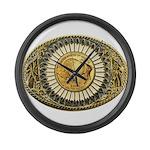 Buffalo gold oval 1 Large Wall Clock