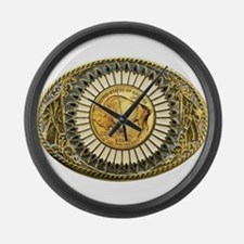 Buffalo gold oval 1 Large Wall Clock
