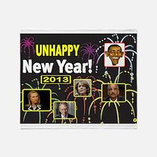 UNHAPPY NEW YEAR Throw Blanket