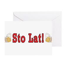 Sto Lat! With Beer Mugs Greeting Card