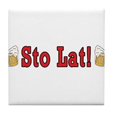 Sto Lat! With Beer Mugs Tile Coaster