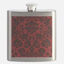 Red and Black Damask Flask