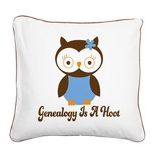 Genealogy Owl Is A Hoot Square Canvas Pillow