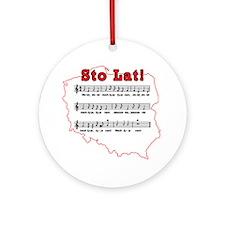 Sto Lat! Song Polish Map Ornament (Round)