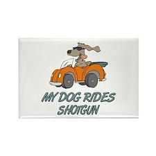 Dog Rides Shotgun Rectangle Magnet