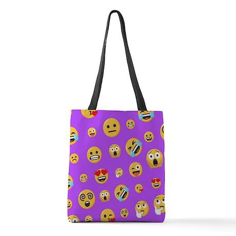 Smiley Emoji Pattern Polyester Tote Bag