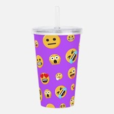 Smiley Emoji Pattern Acrylic Double-wall Tumbler