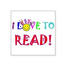 """love to read drk.png Square Sticker 3"""" x 3"""""""