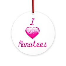 I Heart/Love Manatees Ornament (Round)