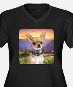 Chihuahua Meadow Women's Plus Size V-Neck Dark T-S