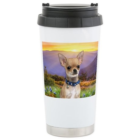Chihuahua Meadow Stainless Steel Travel Mug