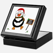Add Name To Dancing Penguin Keepsake Box