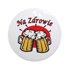 Na Zdrowie Toast With Beer Mugs Ornament (Round)
