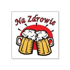 Na Zdrowie Toast With Beer Mugs Square Sticker 3""