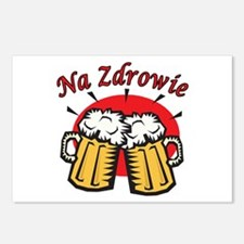 Na Zdrowie Toast With Beer Mugs Postcards (Package