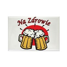 Na Zdrowie Toast With Beer Mugs Rectangle Magnet (